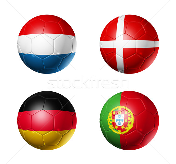 Stock photo: soccer UEFA euro 2012 cup - group B flags on soccer balls