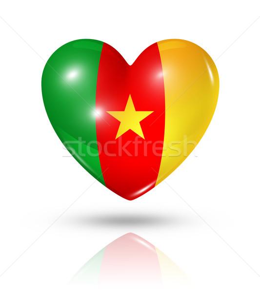 Liefde Kameroen hart vlag icon symbool Stockfoto © daboost