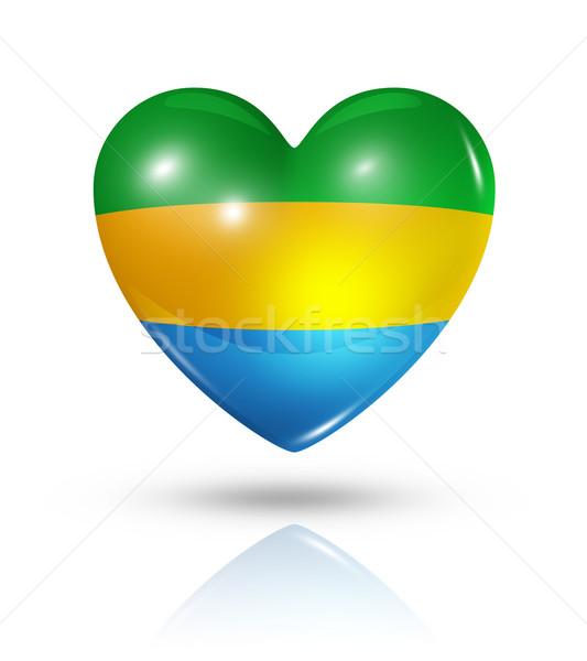 любви Габон сердце флаг икона символ Сток-фото © daboost