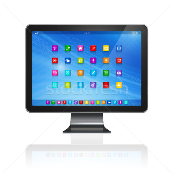 Stock photo: HD TV - Computer - apps icons interface