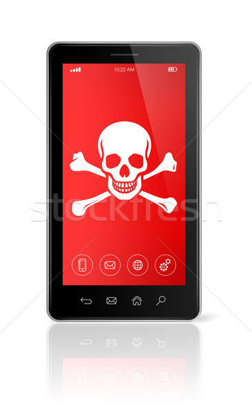 smartphone with a pirate symbol on screen. Hacking concept Stock photo © daboost
