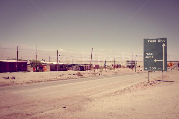 út Chile sivatag felhők tájkép felirat Stock fotó © daboost