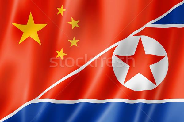 China and north korea flag Stock photo © daboost
