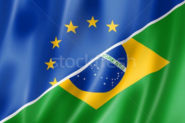 Европа Бразилия флаг смешанный оказывать Сток-фото © daboost