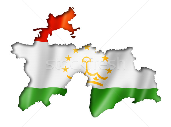 Таджикистан флаг карта оказывать изолированный Сток-фото © daboost