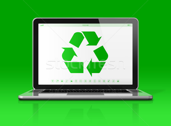 Laptop with a recycle symbol on screen. environmental conservati Stock photo © daboost