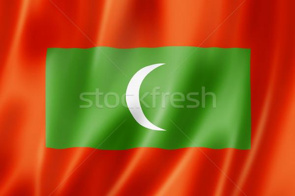 Maldivler bayrak üç boyutlu vermek saten doku Stok fotoğraf © daboost