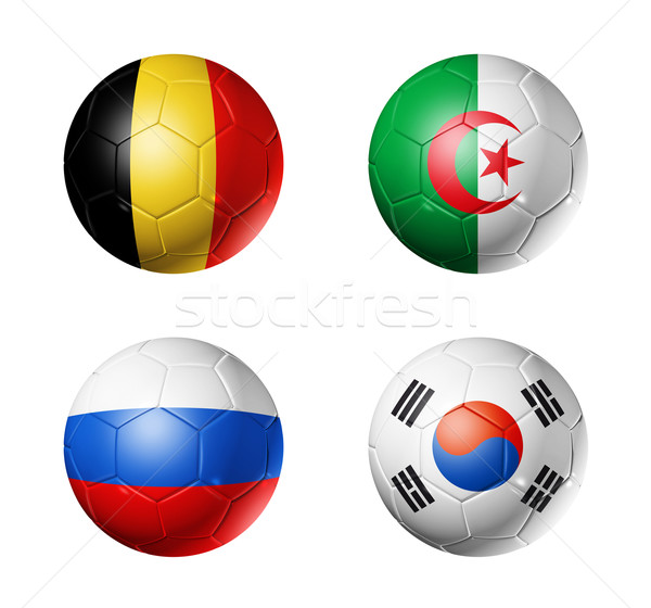 Brazil world cup 2014 group H flags on soccer balls Stock photo © daboost