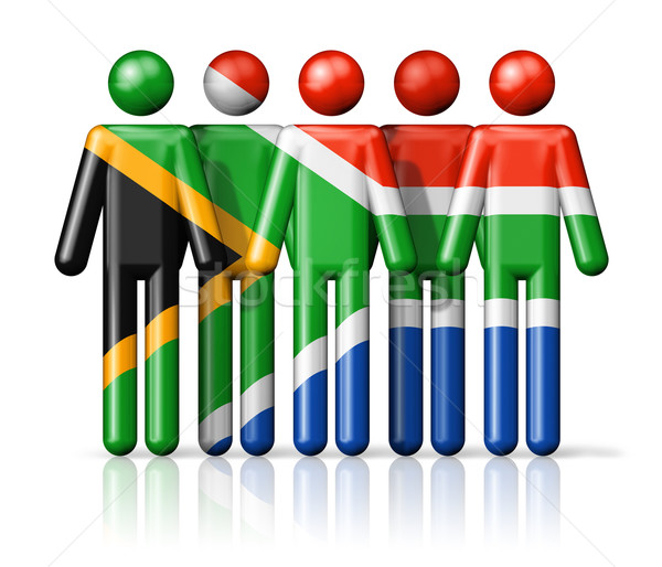 Flag of South Africa on stick figure Stock photo © daboost