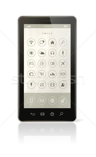 Iconos interfaz 3D aislado blanco Foto stock © daboost