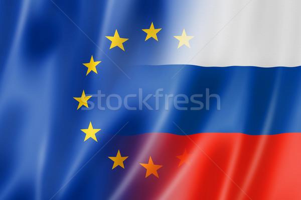Европа Россия флаг смешанный оказывать Сток-фото © daboost