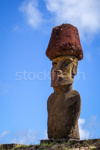 Moais statues site ahu Nao Nao on anakena beach, easter island Stock photo © daboost