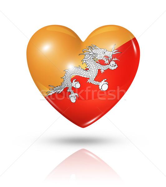Amor Butão coração bandeira ícone símbolo Foto stock © daboost