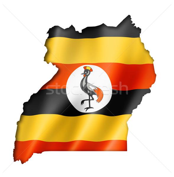 Stock fotó: Uganda · zászló · térkép · háromdimenziós · render · izolált