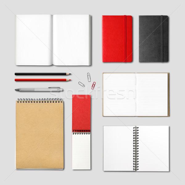 Schrijfbehoeften boeken notebooks sjabloon geïsoleerd Stockfoto © daboost