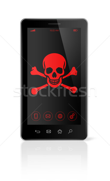 smart phone with a pirate symbol on screen. Hacking concept Stock photo © daboost