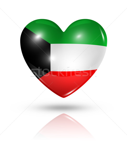 любви Кувейт сердце флаг икона символ Сток-фото © daboost