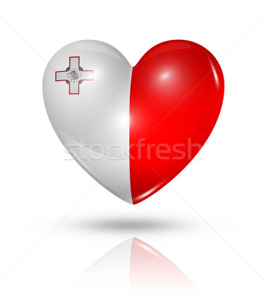 Foto stock: Amor · Malta · corazón · bandera · icono · símbolo