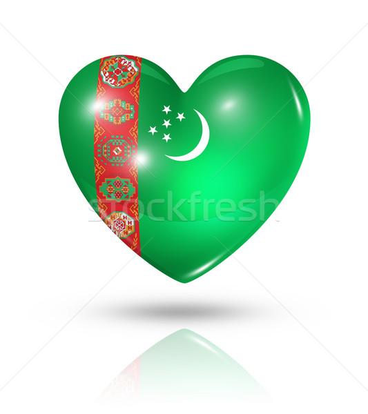 Szeretet Türkmenisztán szív zászló ikon szimbólum Stock fotó © daboost