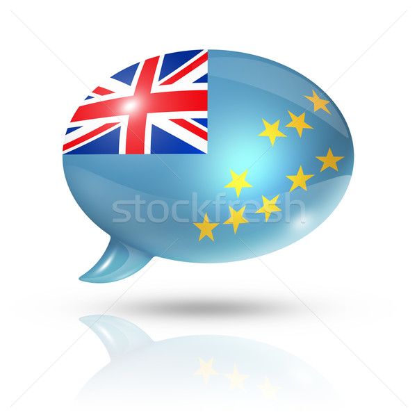 Tuvalu bandeira balão de fala tridimensional isolado branco Foto stock © daboost