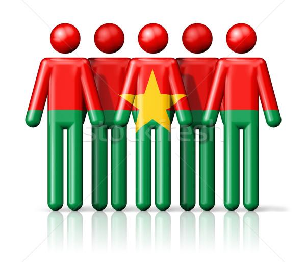 Zászló Burkina pálcikaember társasági közösség szimbólum Stock fotó © daboost