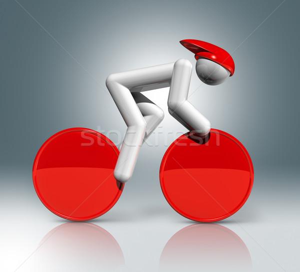 Biciklizik útvonal 3D szimbólum sportok háromdimenziós Stock fotó © daboost