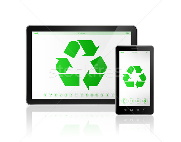 Digital tablet PC with a recycle symbol on screen. environmental Stock photo © daboost