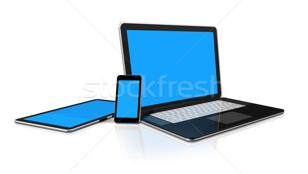 Stockfoto: Laptop · mobiele · telefoon · digitale · computer · 3D