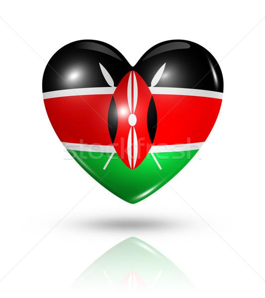 Amour Kenya coeur pavillon icône symbole Photo stock © daboost