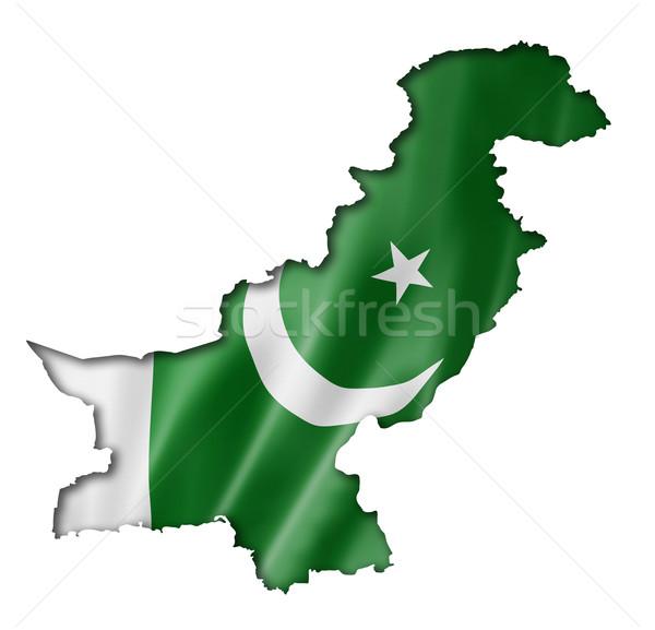 Pakisztáni zászló térkép Pakisztán háromdimenziós render Stock fotó © daboost