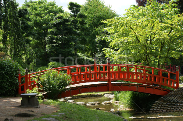 Rouge pont japonais jardin printemps nature Photo stock © daboost