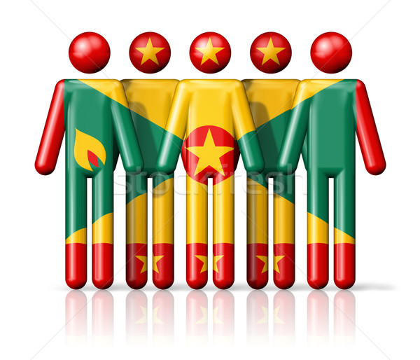 флаг Гренада stick figure социальной сообщество символ Сток-фото © daboost