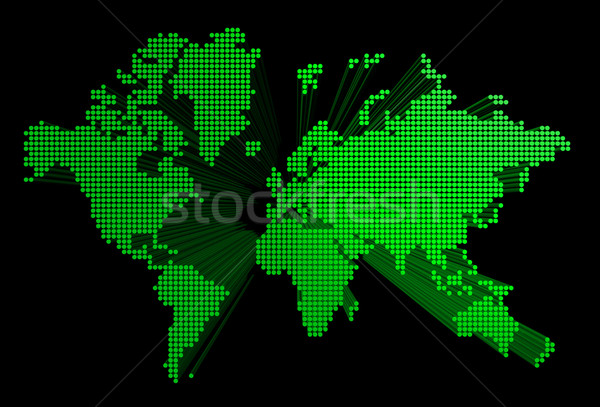 Stockfoto: Groene · wereldkaart · geïsoleerd · zwarte · wereldbol