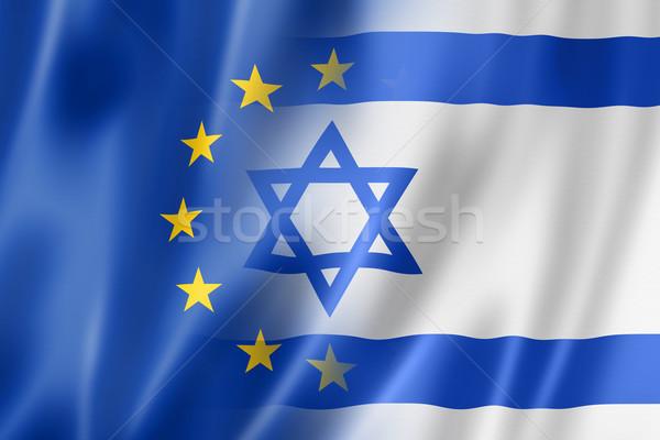 Európa Izrael zászló vegyes háromdimenziós render Stock fotó © daboost