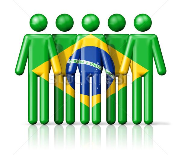 Zászló Brazília pálcikaember társasági közösség szimbólum Stock fotó © daboost