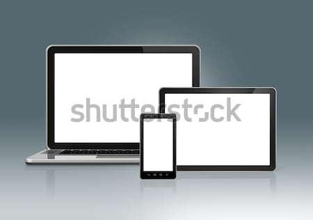 Stock fotó: Magas · tech · laptop · mobiltelefon · digitális · táblagép