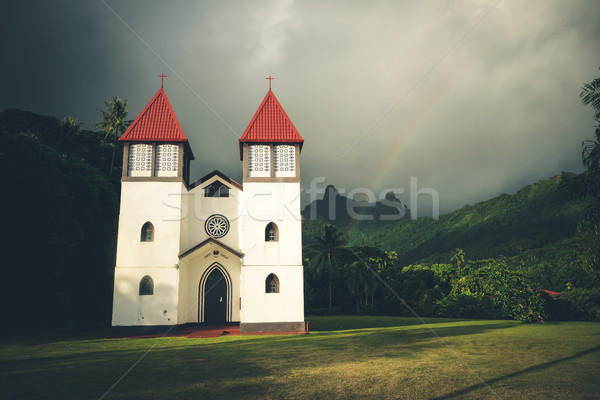 Regenboog kerk eiland landschap frans polynesië Stockfoto © daboost