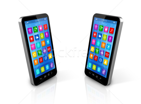 Akıllı telefonlar 3D uygulamaları simgeler arayüz yalıtılmış Stok fotoğraf © daboost