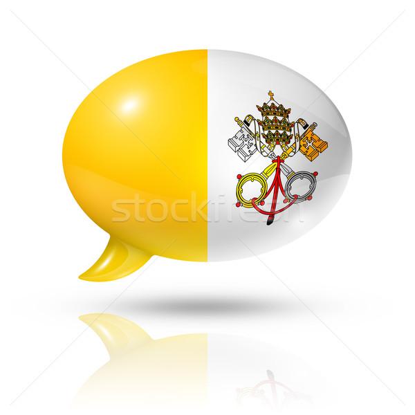 Watykan banderą dymka trójwymiarowy odizolowany biały Zdjęcia stock © daboost