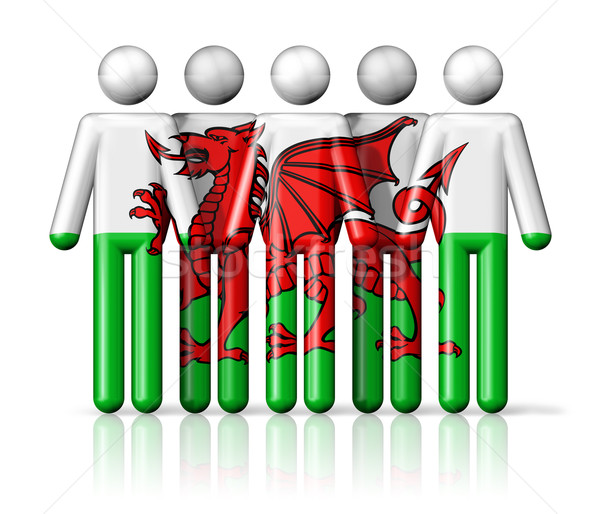 Flag of Wales on stick figure Stock photo © daboost
