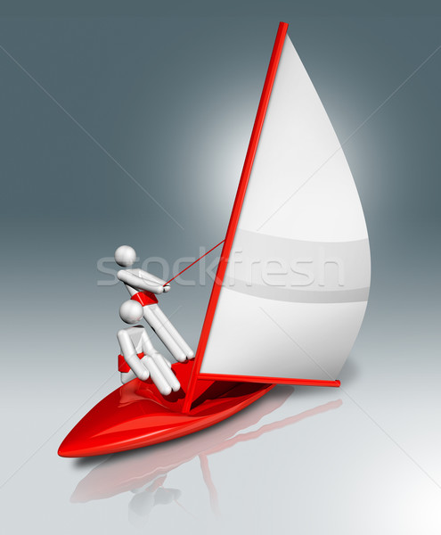 Sailing 3D symbol, Olympic sports Stock photo © daboost