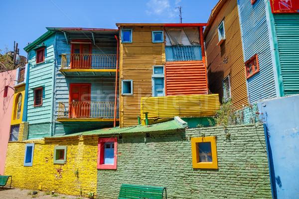 Színes házak Buenos Aires Argentína fa utca Stock fotó © daboost