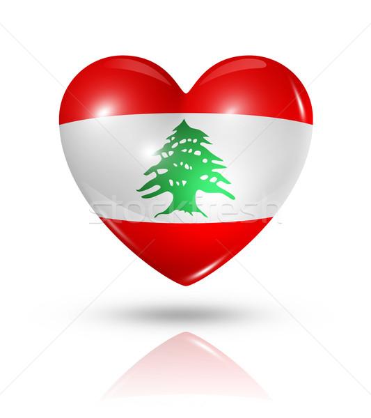 Szeretet Libanon szív zászló ikon szimbólum Stock fotó © daboost