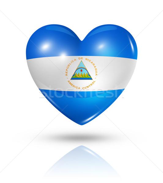 Amor Nicarágua coração bandeira ícone símbolo Foto stock © daboost