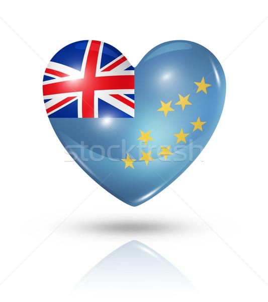 Amor Tuvalu coração bandeira ícone símbolo Foto stock © daboost