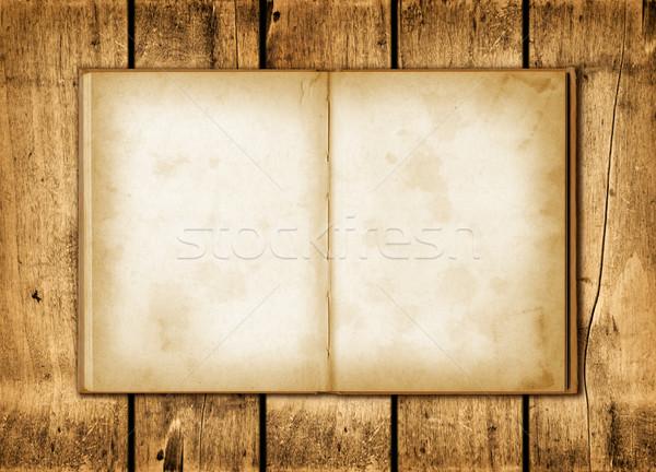 Nota boek hout Blackboard oud hout muur Stockfoto © daboost