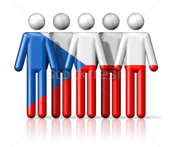 Zászló Csehország pálcikaember társasági közösség szimbólum Stock fotó © daboost