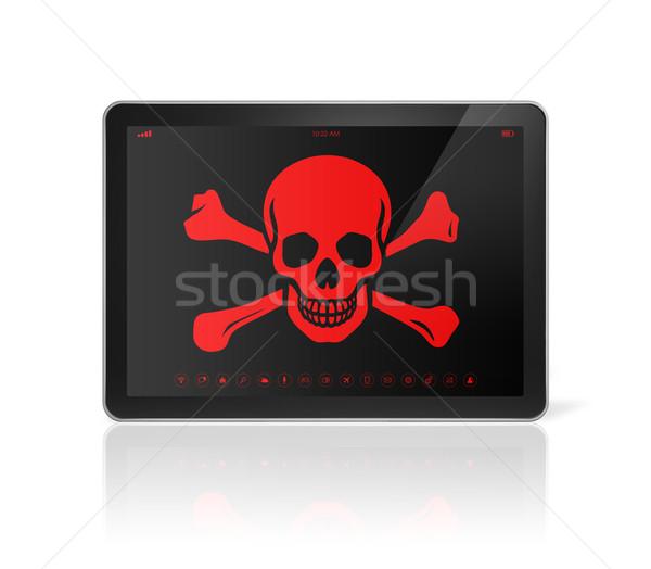 Piraat symbool scherm hacking 3D Stockfoto © daboost