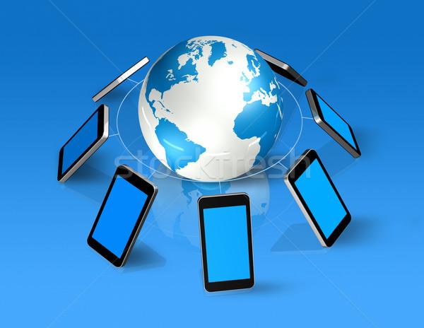 3D telefony komórkowe około świat świecie odizolowany Zdjęcia stock © daboost