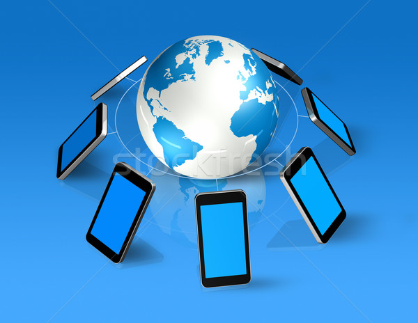 3D mobiele telefoons rond wereld wereldbol geïsoleerd Stockfoto © daboost